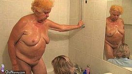 OldNanny Chubby granny bathed...