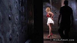 Blonde bondage legend hogtied...