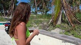 Hottie in bikini rides...