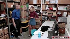 Blonde thief sucks officer...