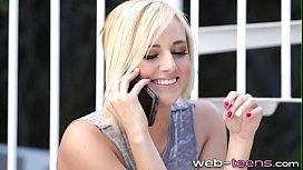 Slutty blonde teen licks