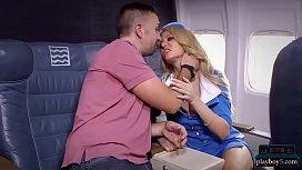 Big tits blonde stewardess...