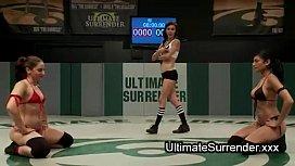 Lesbian wrestlers deep throat...