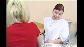 Catholic schoolgirls licking pussy...