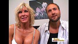 Muscular blonde slut gets...