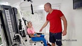 Trainer fucks petite blonde...