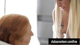 Blonde lesbian teens toying...