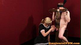 Cocksucking babe dominates naked...
