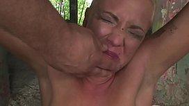 Desperated-suspended victim struggling...