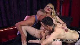 Blonde tranny bangs man...