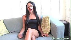 Casting ebony tgirl tugging...