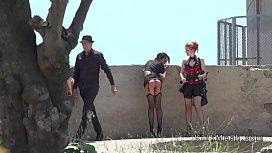 Brunette in stockings spanked...