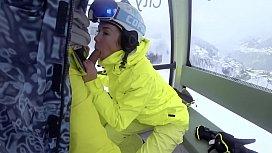 4K Public cumshot on mouth in ski lift Part 1, 2