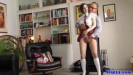 Amateur schoolgirl pleasuring old...