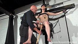 Crossed bondage tit tortures...