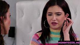 Nasty stepdaughter teen makes happy a sad MILF stepmom