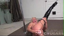 Muscular woman is masturbating...