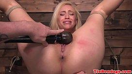 Blonde bdsm sub punished with vibrator toying