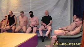 Real gangbang with skinny...
