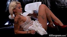Hot babe Delta White in sexy lingerie creams over big cock