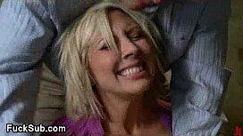 Tied up blondina anal...