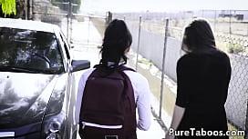 Latina teenager spitroasted in ffm threeway