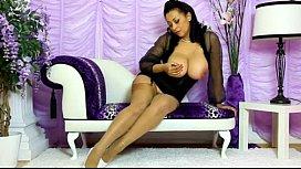 Danica teasing stockings high...