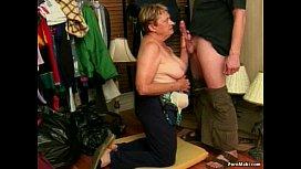 Granny Blowjob and Facial...