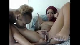 Slim Ebony Eating Some...
