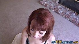 Redhead gets pov facial...