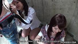 Two slutty Asian sluts sucking dudes on the stairwell freerussiasex