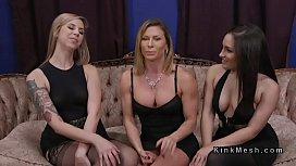 Threesome lezdom anal strap...