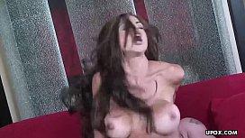 Voluptuous fake tits brunette...