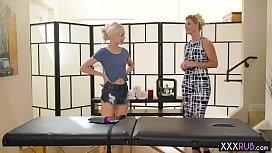 Blonde teen hot massage by a professional mature blonde