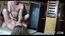 Nasty babe gets licked, sucks and fucks in plenty of poses