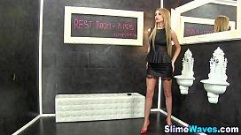 Glam babe fetish slimed...