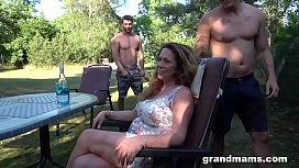 Horny Granny Seducing Two...