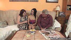 Old parents seduce his...