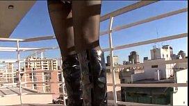 Blonde shemale in sexy black stockin ...