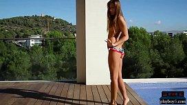 Perfect ass European teen model hot posing outdoor