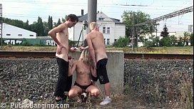 MILF hard PUBLIC threesome...