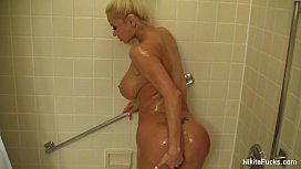 Nikita Von James showers...