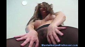 Stocking fetish babe shows...