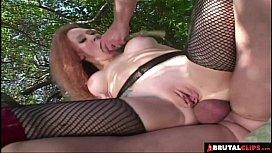 BrutalClips - Nasty Slut Roughed up by 2 Cocks