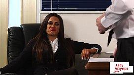 CFNM bosslady humiliates employee...
