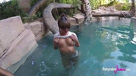 Rahyndee James backyard swimming...
