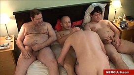 Gay dude gangbanged...
