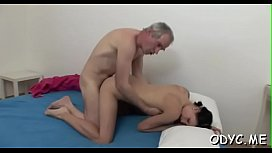 Horny juvenile amateur babe gives old boy a steamy blowjob