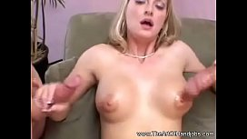 Sharon Jerks Off Two Dicks