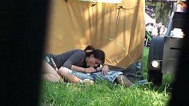 Outdoor festival amateur couple...